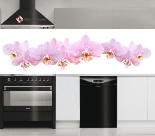 Принт стъкло гръб за кухня с орхидея