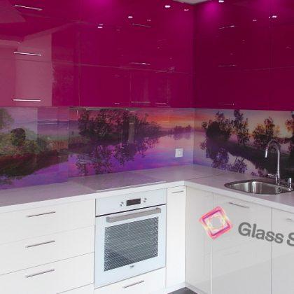 лилаво Принт стъкло