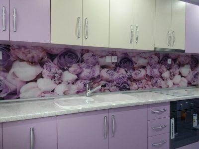 кухня принт стъкла лилава