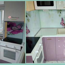 Лилава кухня мдф боя